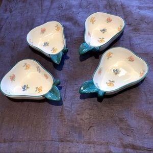 Pear Shaped  Fruit Bowls Set 4 No Chips or Cracks
